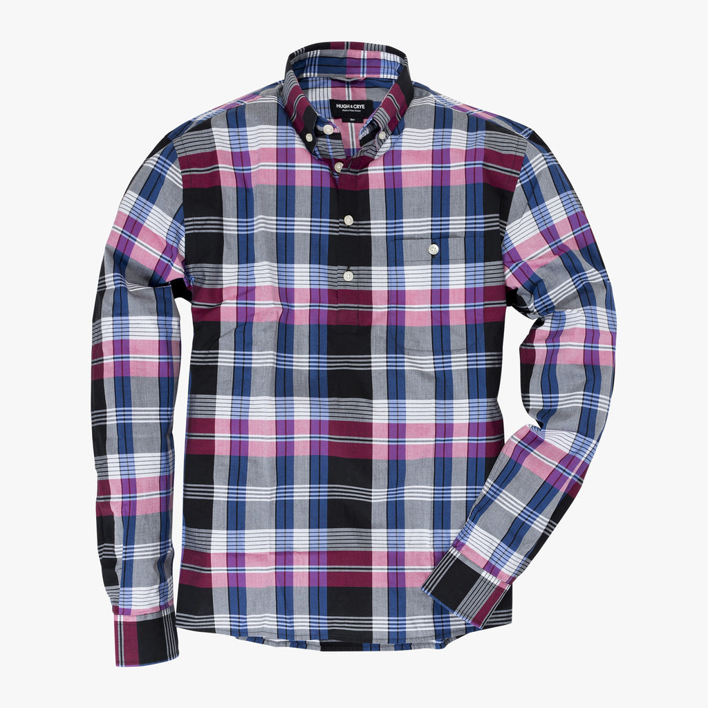 Button-down popover with pink/indigo horizontal stripe madras plaid - Carson - Splay