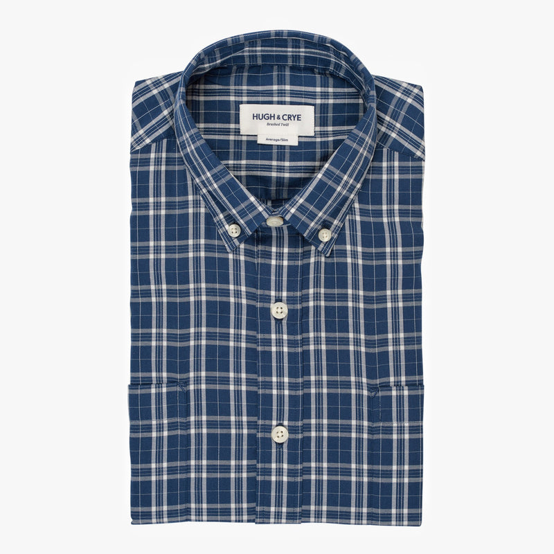Teal white check brushed twill shirt - Ogden