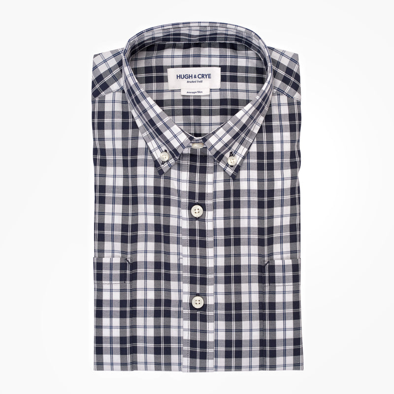 White black check brushed twill shirt - Hobson