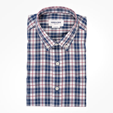 Teal red plaid brushed twill shirt - Hobson