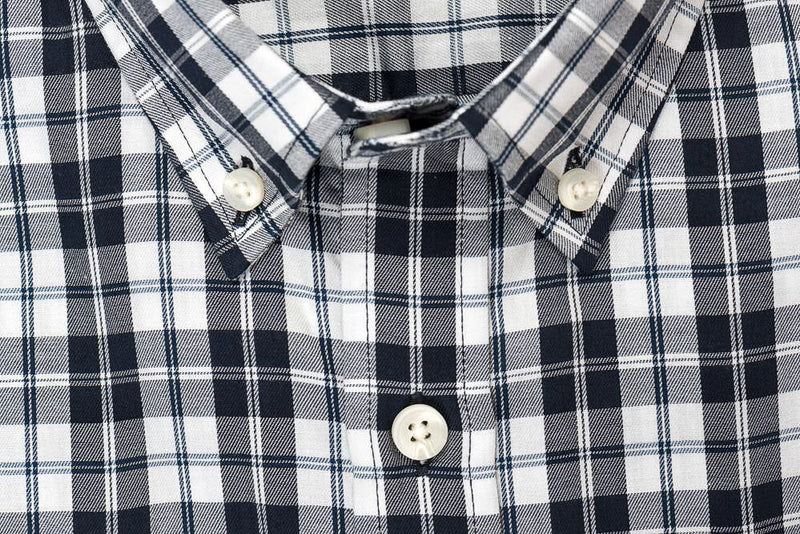 White black check brushed twill shirt collar - Hobson