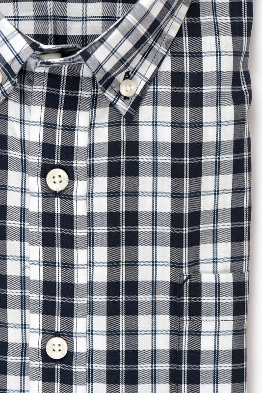 White black check brushed twill shirt fabric - Hobson
