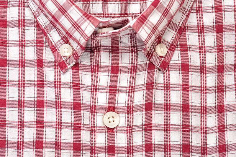 White red check brushed twill shirt collar - Pullman