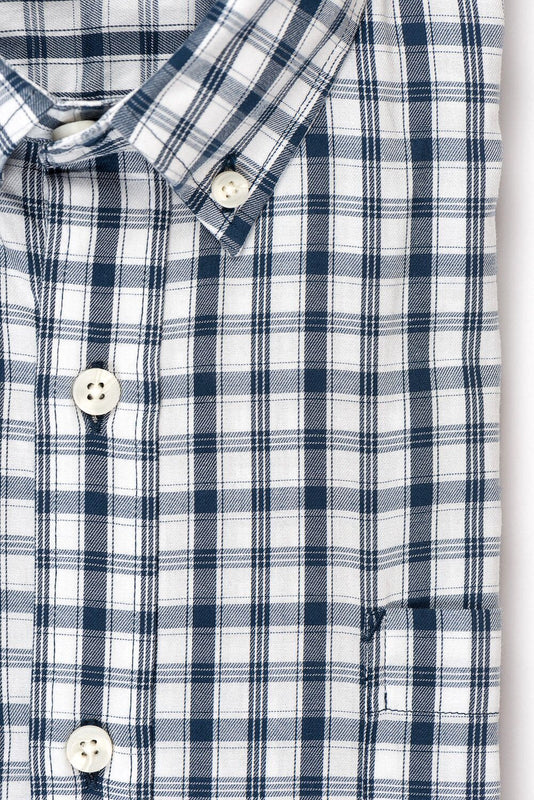 White blue check brushed twill shirt fabric - Pullman