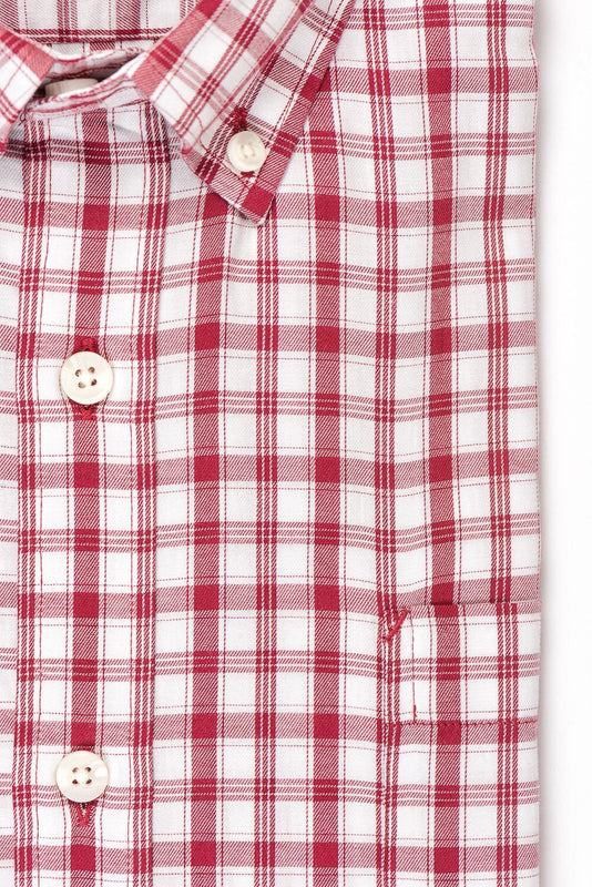White red check brushed twill shirt fabric - Pullman