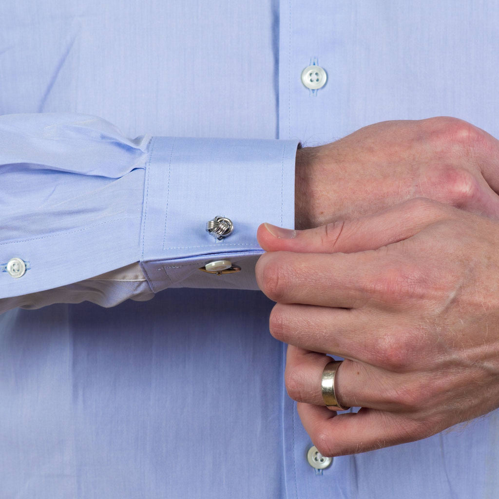 convertible cuff shirt in blue solid 120s poplin - kent - detail