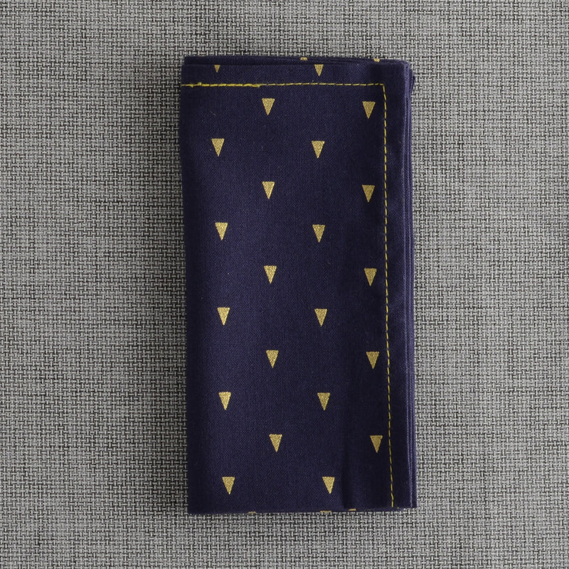 Navy With Gold Triangles Print Enfilade Pocket Square