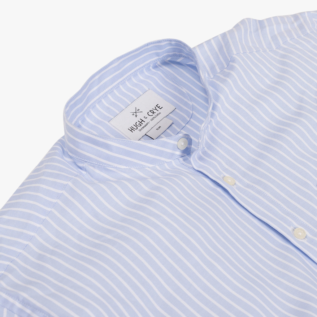 Band Collar popover in light blue and white stripe oxford fabric - Emilio - Detail