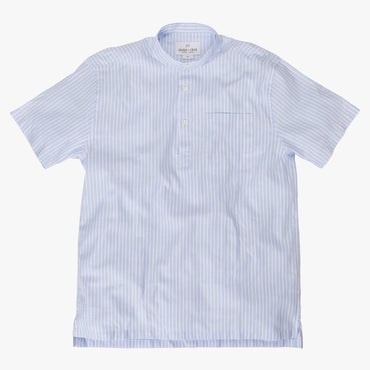 Band Collar popover in light blue and white stripe oxford fabric - Emilio - Splay