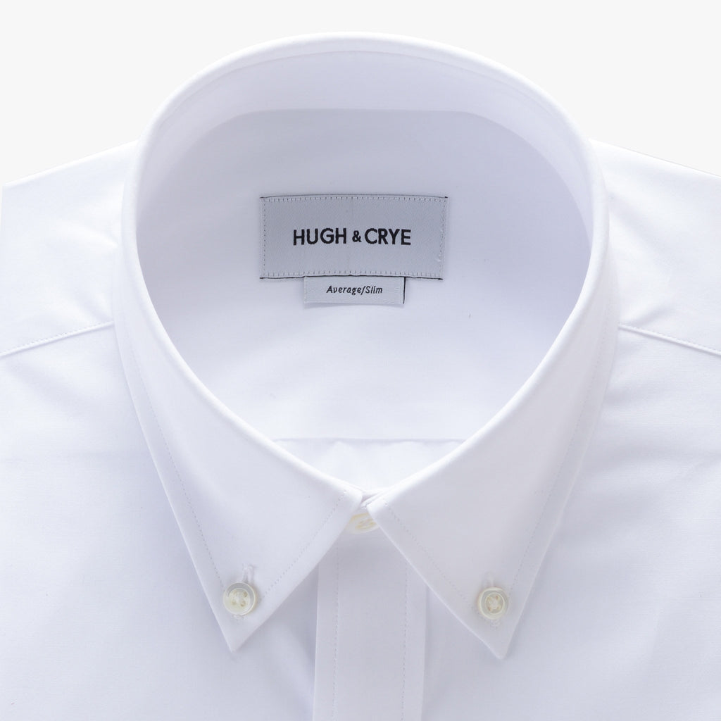 button-down collar shirt in white solid 120s poplin - Fairlawn - detail