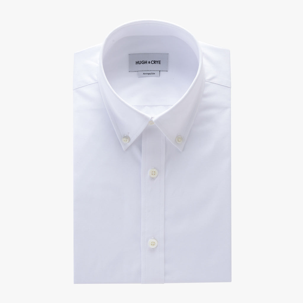 Button-down collar shirt in white solid 120s poplin - fairlawn - flat