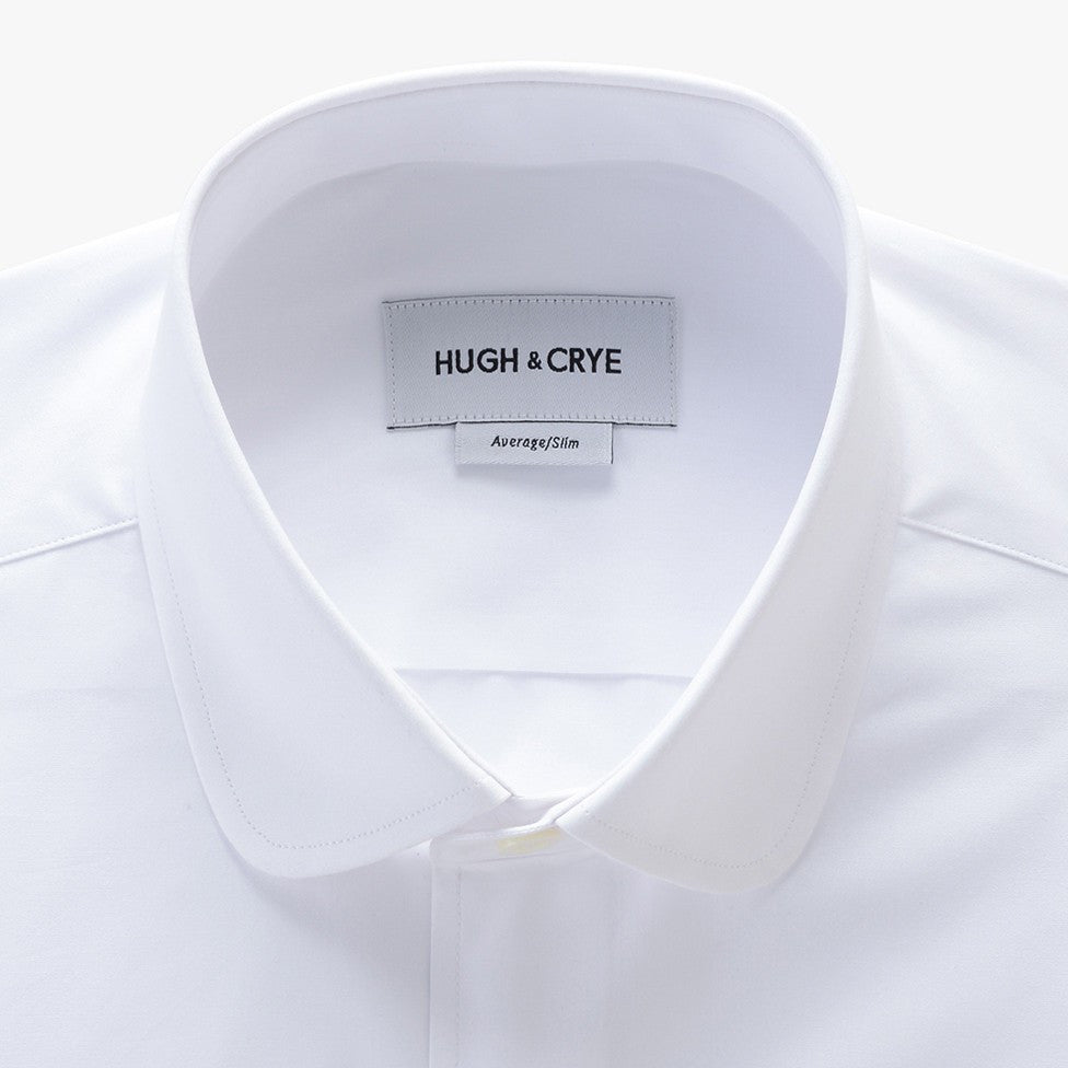 club collar shirt in white solid 120s poplin - foxhall - detail