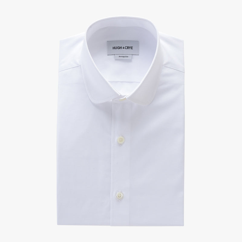 club collar shirt in white solid 120s poplin - foxhall - flat