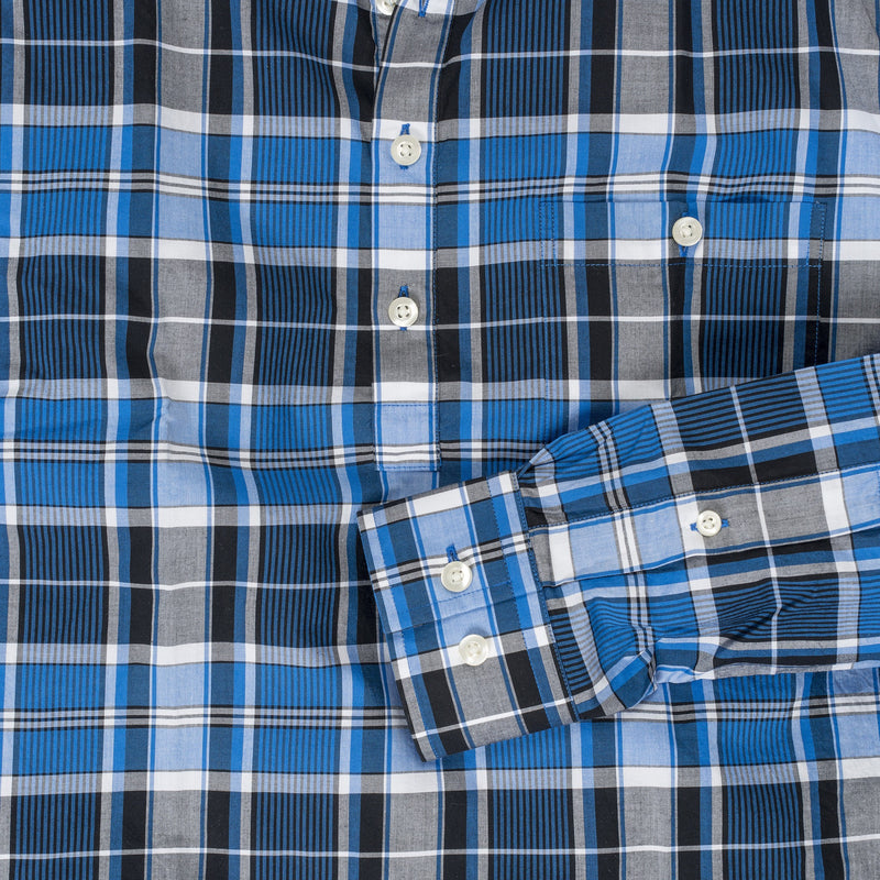 Button-down popover with blue vertical stripe madras - Fox - Detail