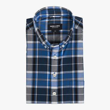 Button-down popover with blue vertical stripe madras - Fox - Flat