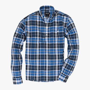 Button-down popover with blue vertical stripe madras - Fox - Splay