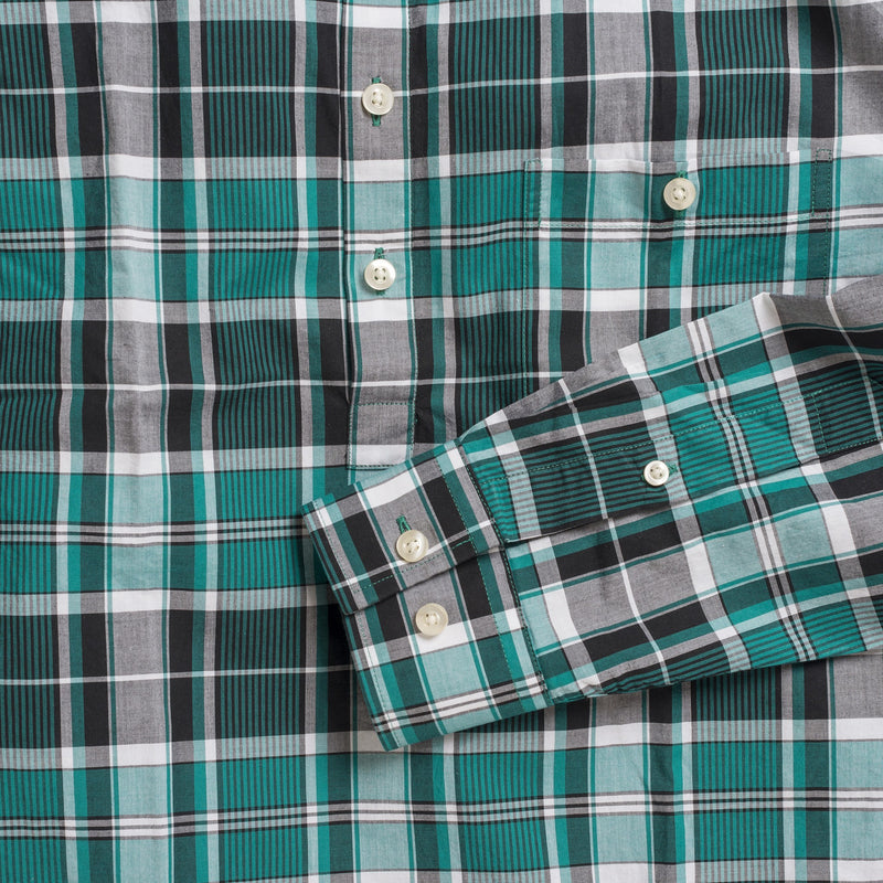 Button-down popover with green vertical stripe madras - Fox - Detail