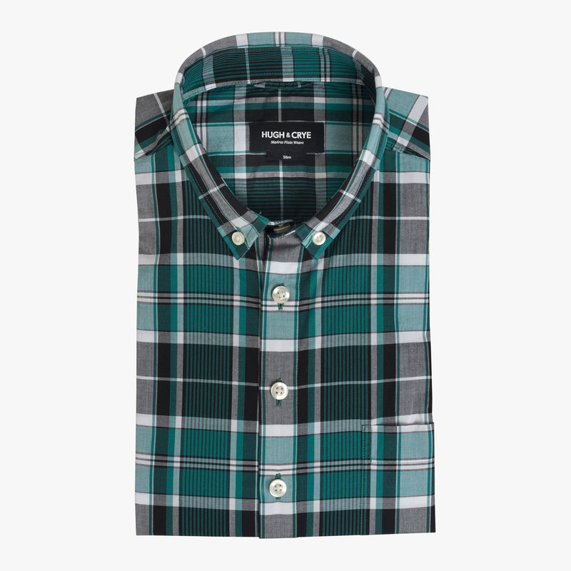 Button-down popover with green vertical stripe madras - Fox - Flat
