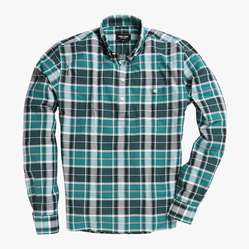 Button-down popover with green vertical stripe madras - Fox - Splay
