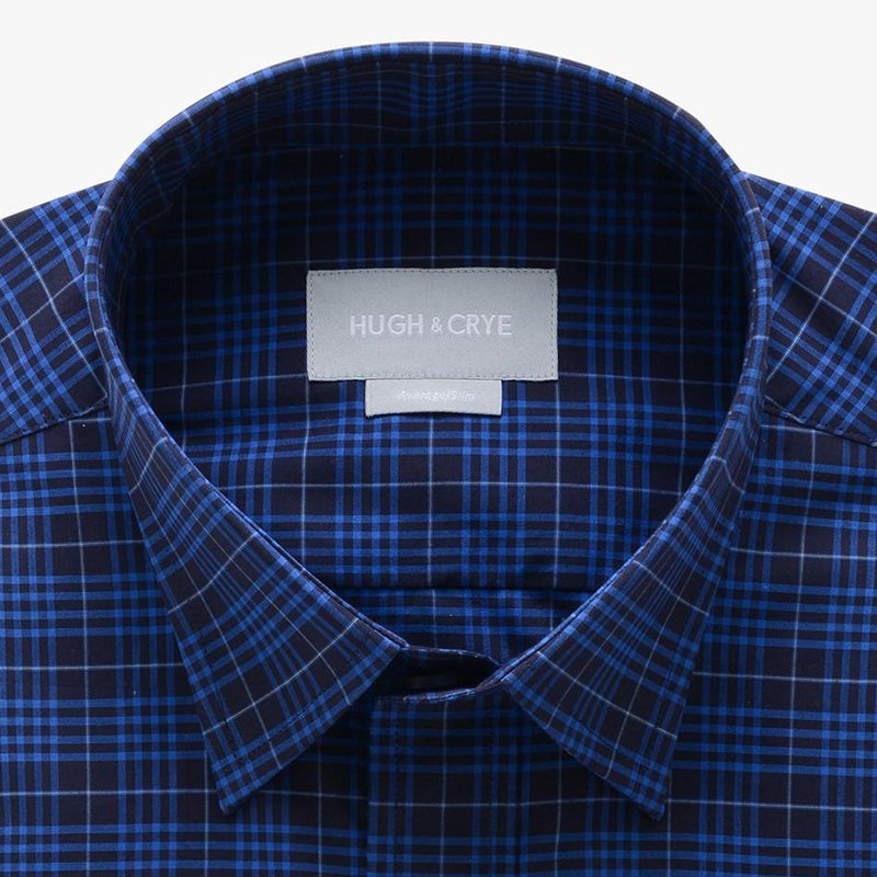 casual point collar shirt in blue, black check poplin - montrose - detail