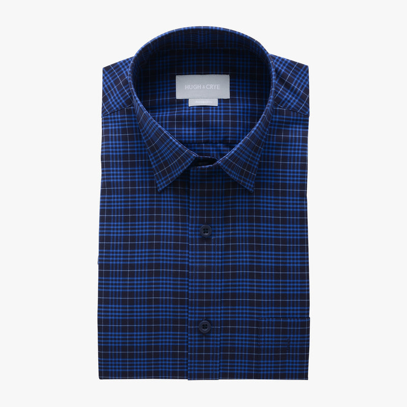 casual point collar shirt in blue, black check poplin - montrose - flat