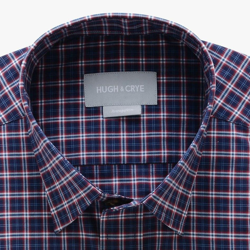 casual point collar shirt in black, red plaid poplin - hillwood - detail