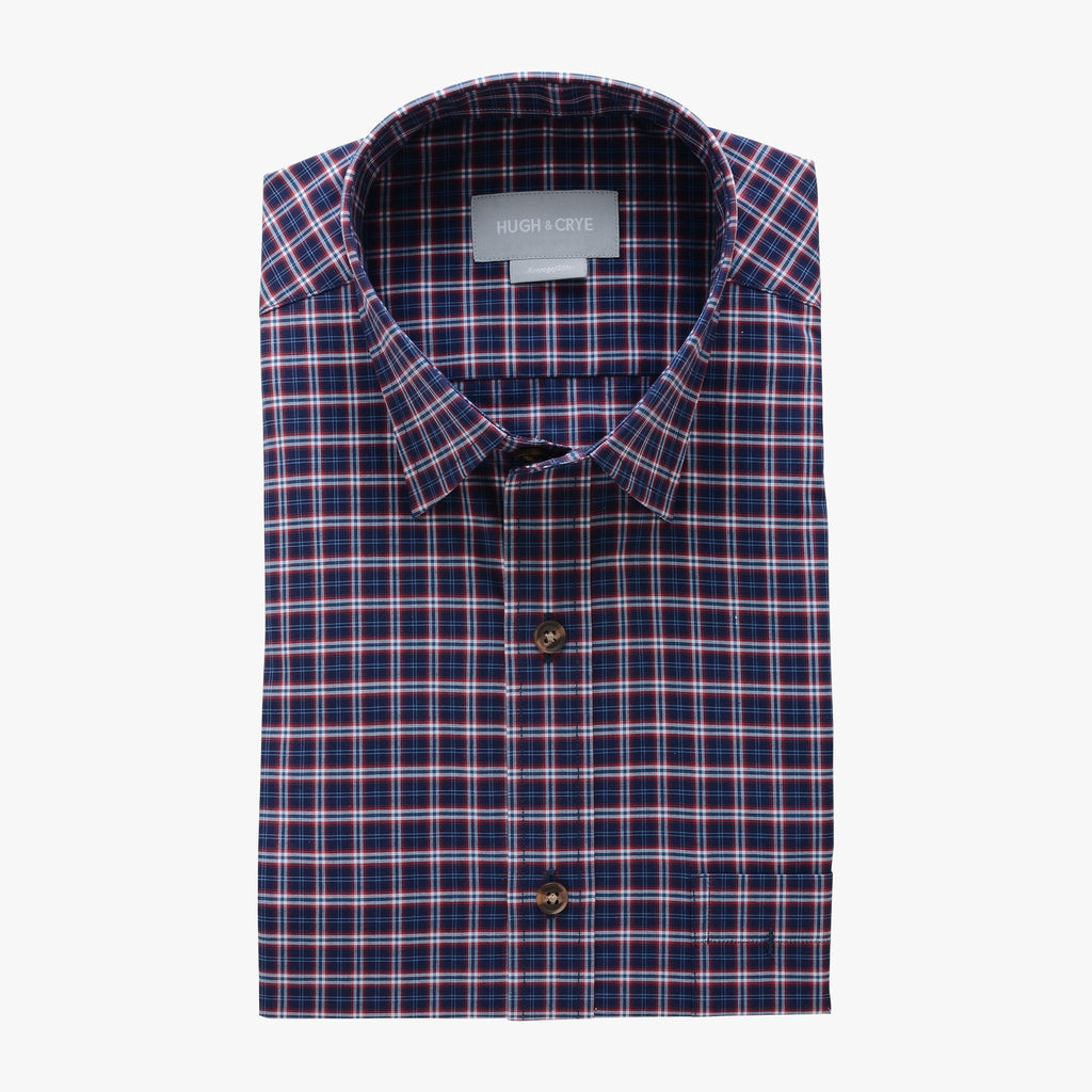 casual point collar shirt in black, red plaid poplin - hillwood - flat