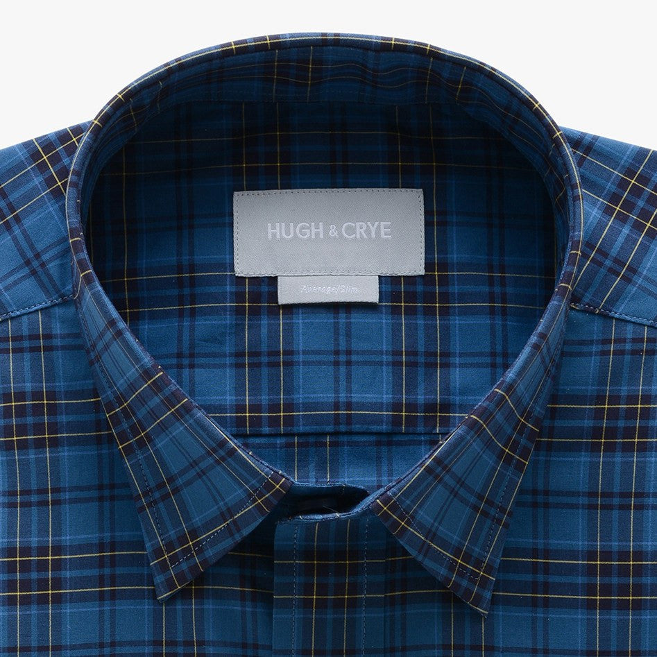 casual point collar shirt in blue, yellow plaid poplin - teton - detail