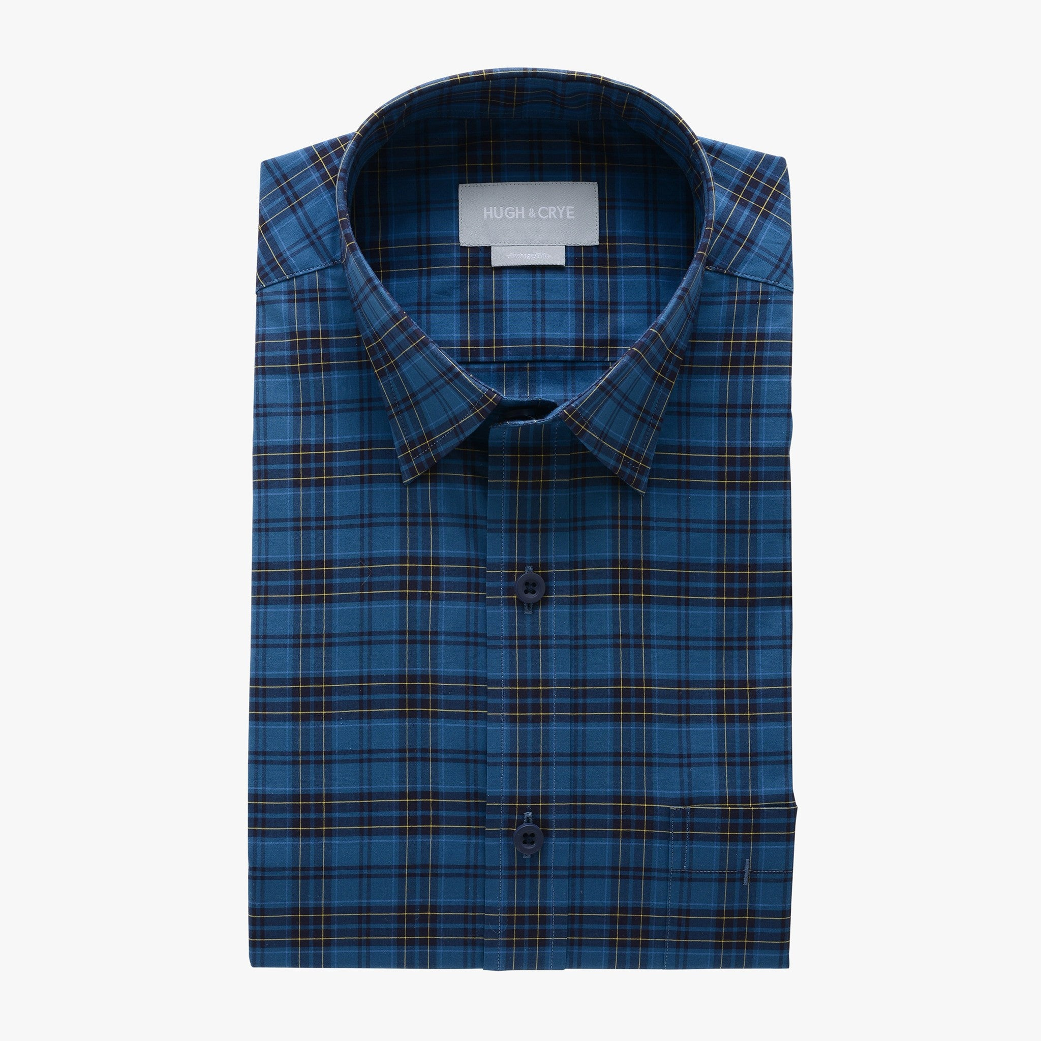 casual point collar shirt in blue, yellow plaid poplin - teton - flat