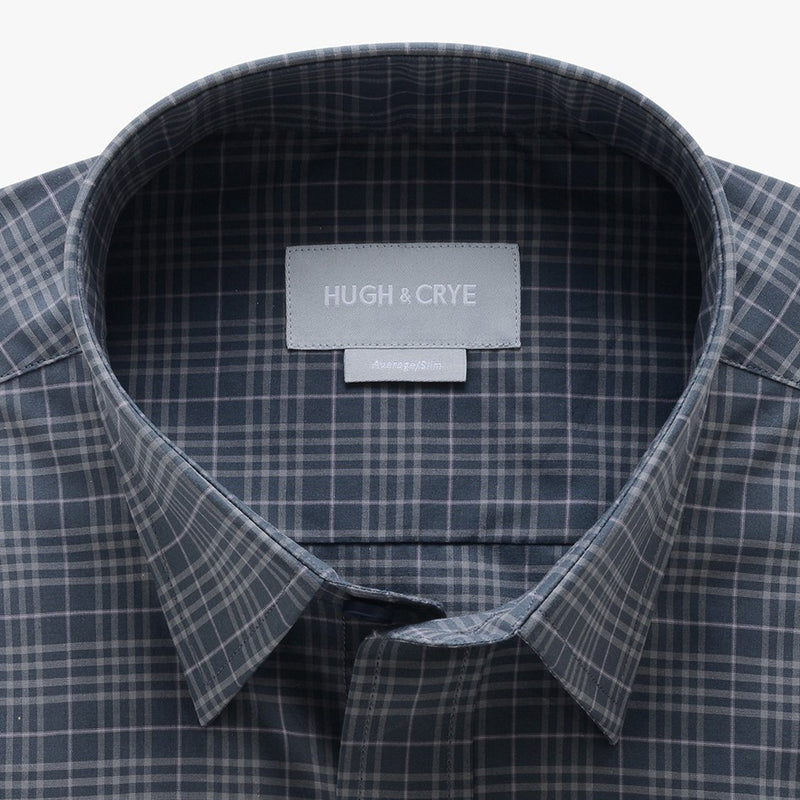 casual point collar shirt in gray, light gray check poplin - montrose - detail
