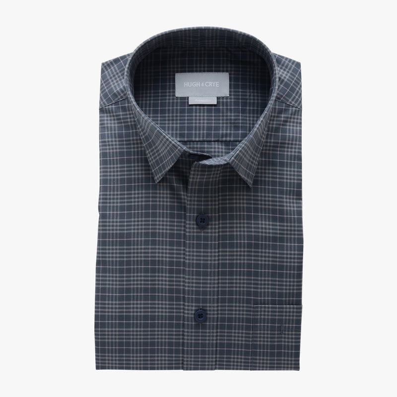 casual point collar shirt in gray, light gray check poplin - montrose - flat