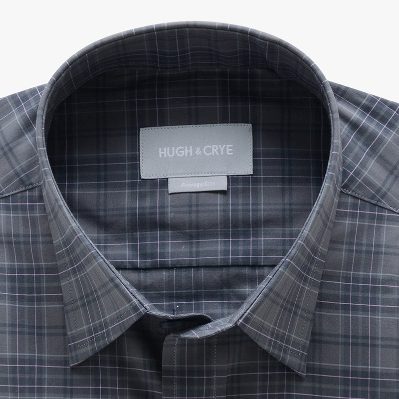 casual point collar shirt in grey, pink plaid poplin - rainier - detail