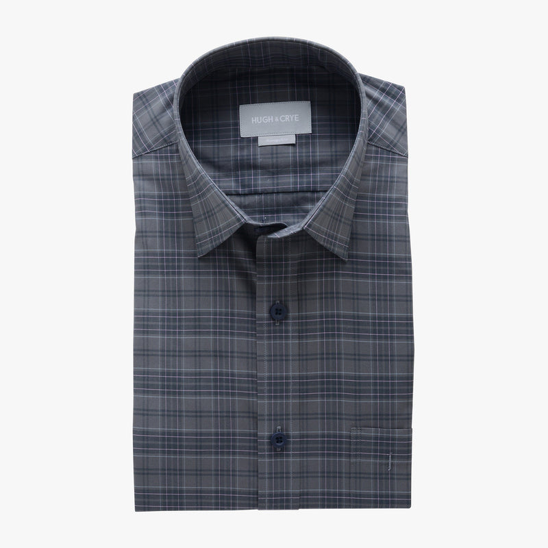 casual point collar shirt in grey, pink plaid poplin - rainier - flat