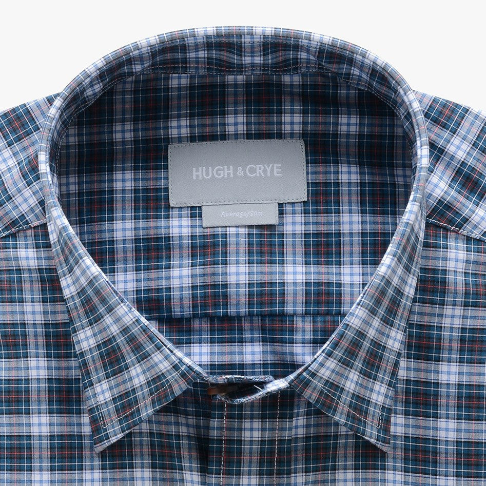 casual point collar shirt in blue, peach plaid poplin - rock creek - detail