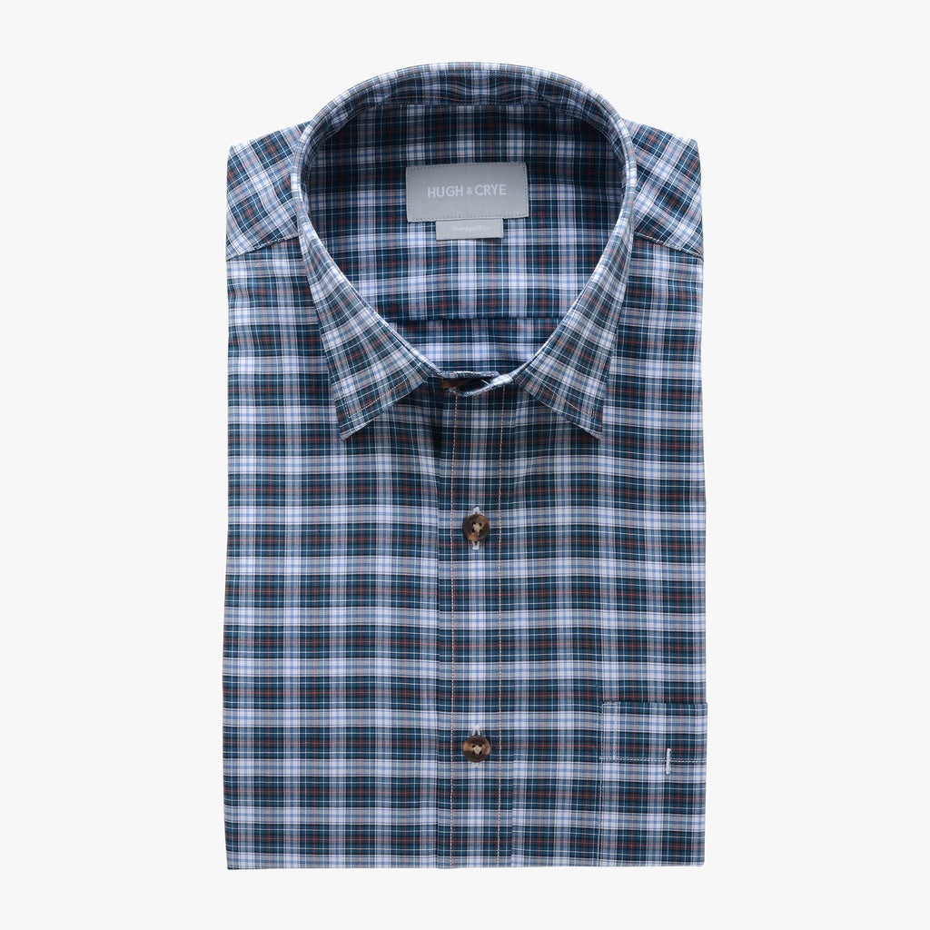 casual point collar shirt in blue, peach plaid poplin - rock creek - flat