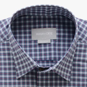 casual point collar shirt in blue, pink plaid poplin - dumbarton - detail