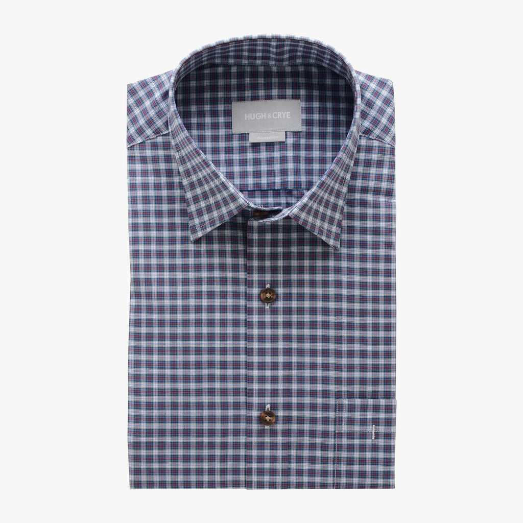 casual point collar shirt in blue, pink plaid poplin - dumbarton - flat