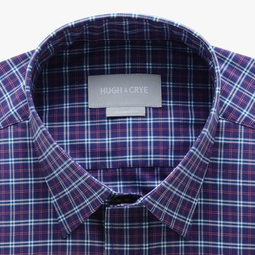 casual point collar shirt in purple, pink plaid poplin - hillwood - detail