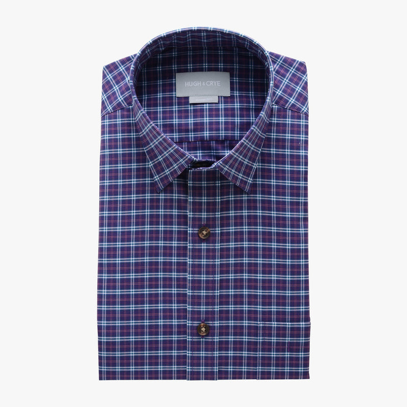 casual point collar shirt in purple, pink plaid poplin - hillwood - flat