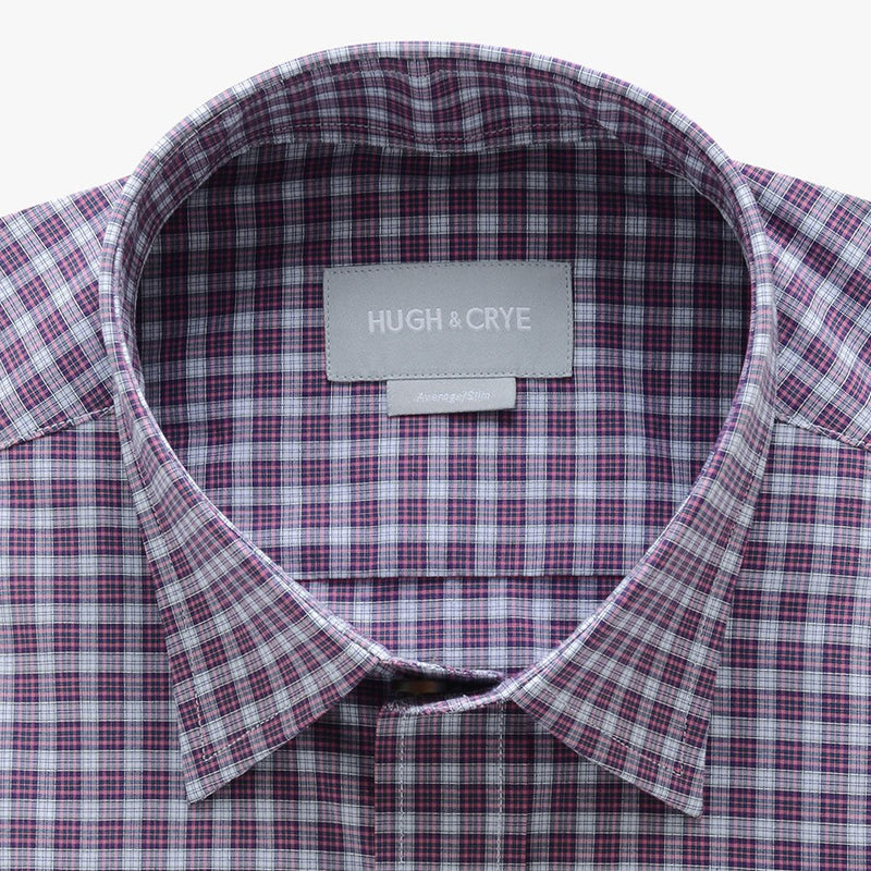 casual point collar shirt in pink, white check poplin - dumbarton - detail