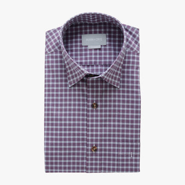 casual point collar shirt in pink, white check poplin - dumbarton - flat