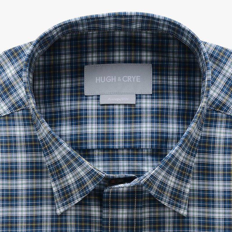 casual point collar shirt in green, yellow plaid poplin - rock creek - detail