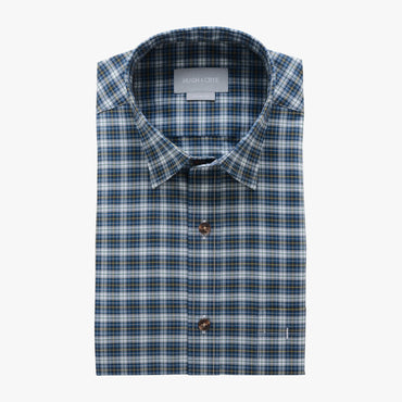 casual point collar shirt in green, yellow plaid poplin - rock creek - flat