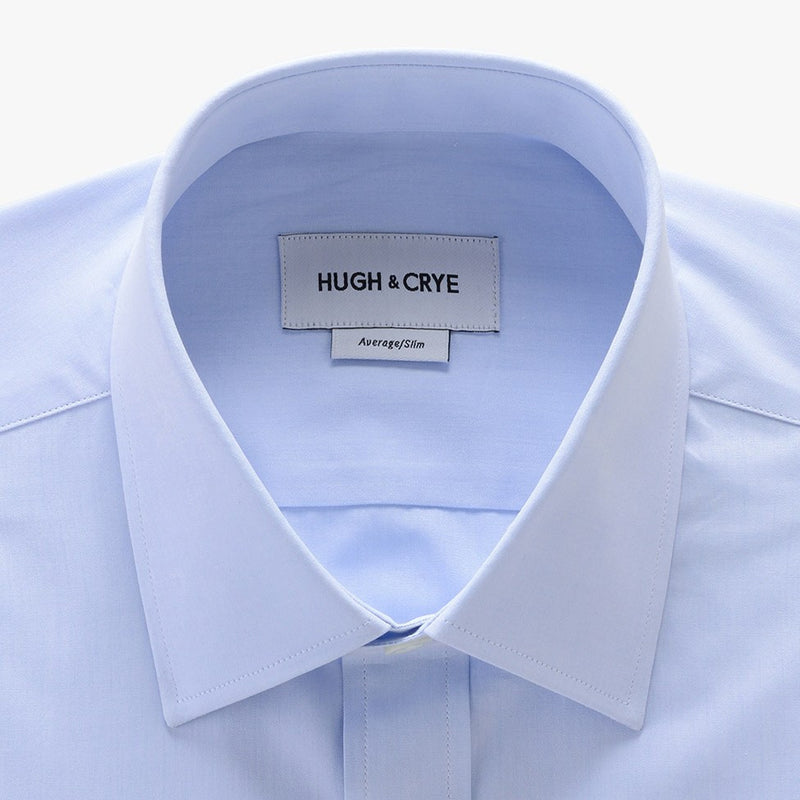 semi-spread collar shirt in blue solid 120s poplin - georgetown - detail