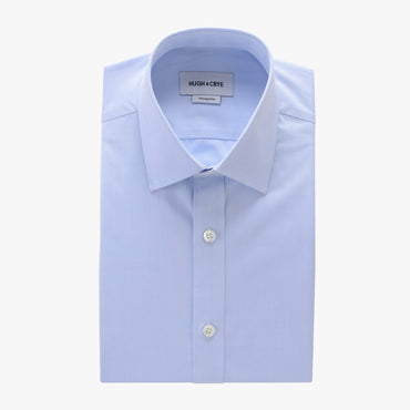 semi-spread collar shirt in blue solid 120s poplin - georgetown - flat