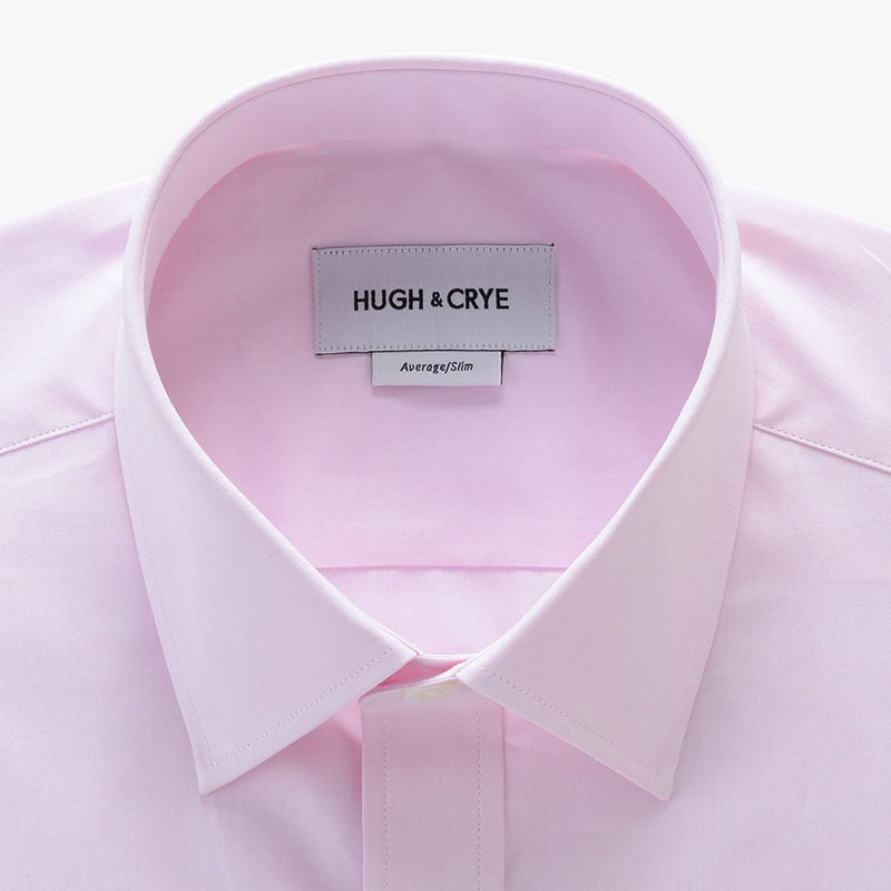 semi-spread collar shirt in pink solid 120s poplin - georgetown - detail