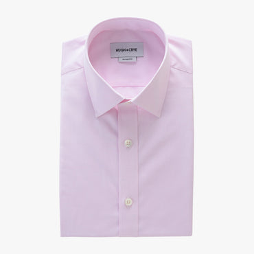 semi-spread collar shirt in pink solid 120s poplin - georgetown - flat