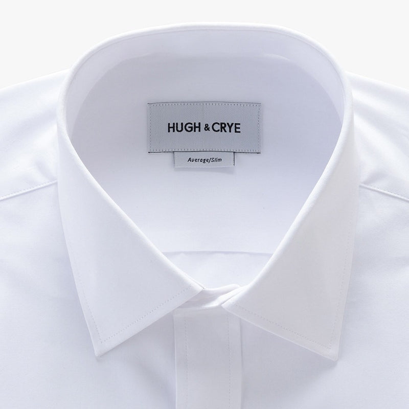 semi-spread collar shirt in white solid 120s poplin - georgetown - detail