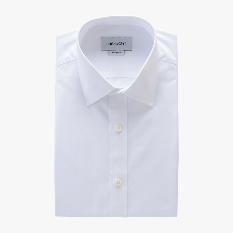 semi-spread collar shirt in white solid 120s poplin - georgetown - flat