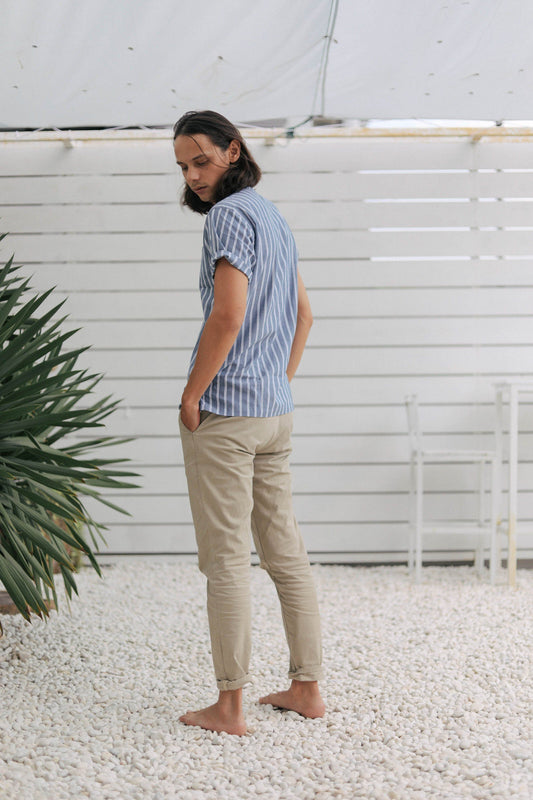striped indigo popover men's - backshot